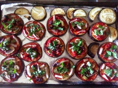 The ends of the eggplant were too small for pizzas, so I cooked them on the side and ate them separately as eggplant chips!