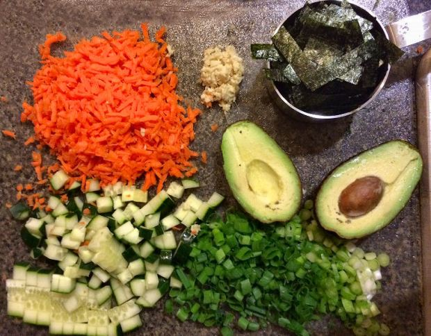 All the vegetable sushi ingredients, minus the celery