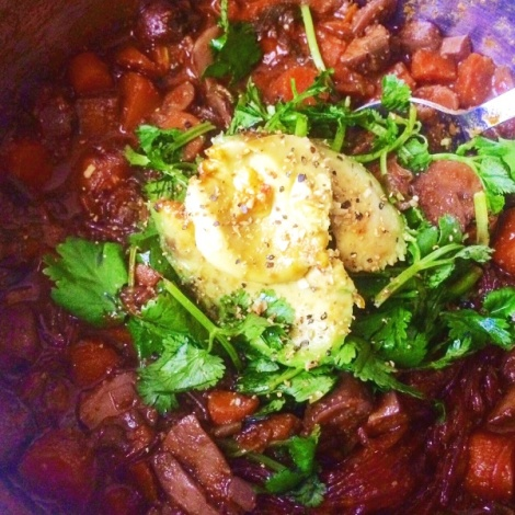 Here is an extra chunky bourguignon I made, with mung bean noodles and topped with avocado and cilantro