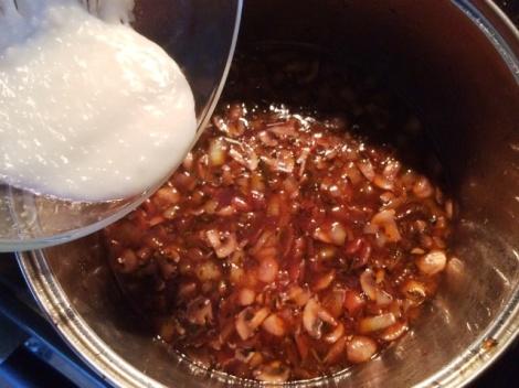 Adding in the tapioca starch and coconut oil