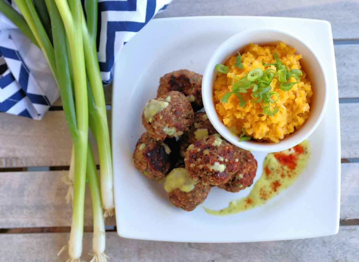Bison Quinoa Meatballs with Sage and Chive