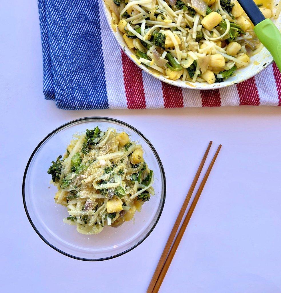 gluten-free scallop fettucine with lemon butter by serene earth recipes.